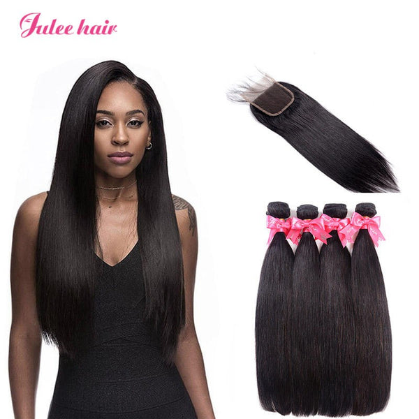 High Quality Brazilian Straight Hair 4 Bundles With 4*4 Lace Closure For Sale