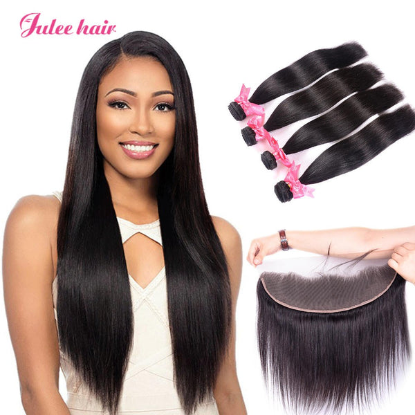 8A Grade Indian Straight Hair 4 Bundles With 13*4 Ear To Ear Lace Frontal