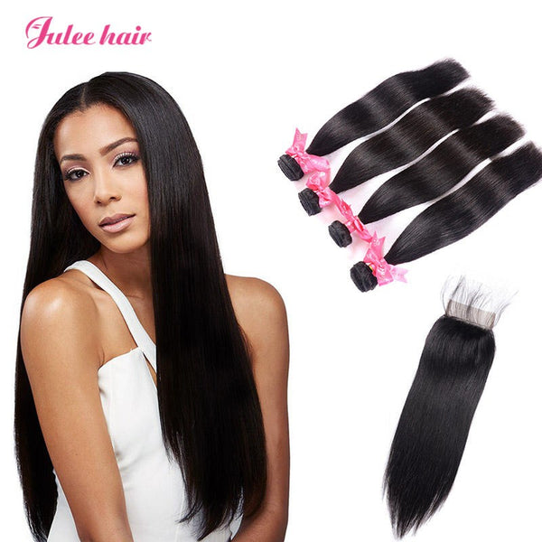 Indian Straight Hair 4 Bundles With 4*4 Lace Closure Best Virgin Human Hair