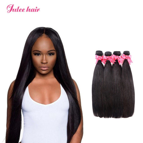 Real Malaysian Silky Straight Hair Bundles 4 Items/lot