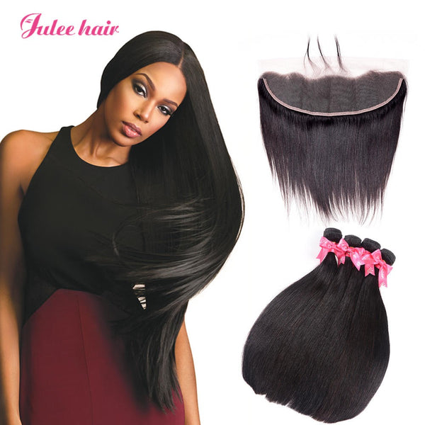 High Quality Virgin Malaysian Straight Hair 4 Bundles With 13*4 Ear To Ear Lace Front Closure
