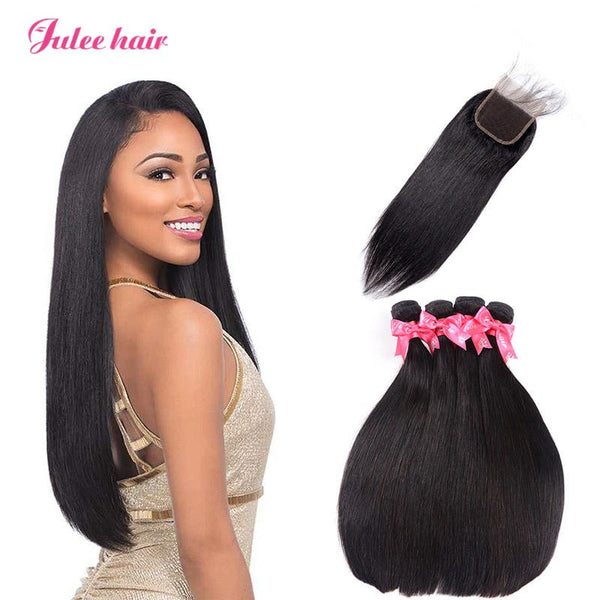Malaysian Straight Hair 4 Bundles With 4*4 Lace Closure Best Virgin Human Hair