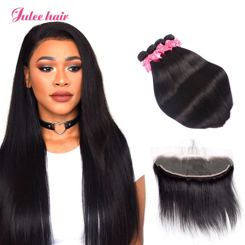 8A Quality Peruvian Straight Hair 4 Bundles With 13*4 Ear To Ear Lace Frontal