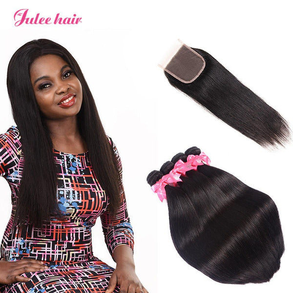 Peruvian Straight Hair 4 Bundles With 4*4 Lace Closure Best Virgin Human Hair