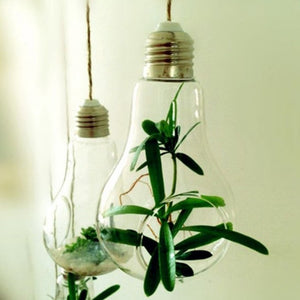 2017 New Glass Bulb Lamp Shape Flower Water Plant Hanging Vase Hydroponic Container Pot Home Office Wedding Decor Drop shipping
