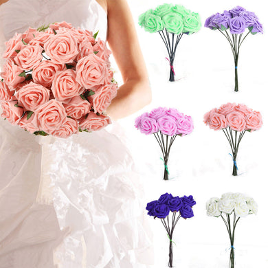 Hot Wedding Bridal Bridesmaid Bouquet 10 Artificial Foam Rose Flowers Decorations