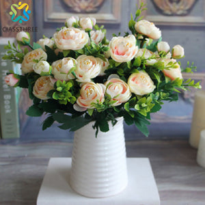 High Quality silk flower European 1 Bouquet Artificial Flowers Fall Vivid Peony Fake Leaf Wedding Home Party Decoration