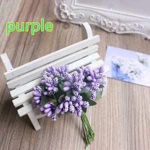 Cheap 12pcs Artificial Bud Stamen Berry Bacca Flower For Wedding Decoration DIY Scrapbooking Decorative Artificial flowers