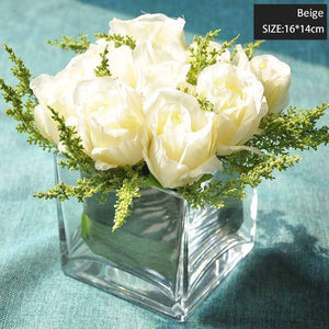 Miz Home 1 Piece Small Head Artificial Rose Glass Transparent Vase Set for Desk Office Top Quality Flower Set