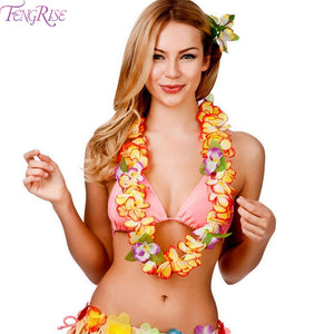 Hawaiian Artificial Flowers Necklace Decoration for Beach Party
