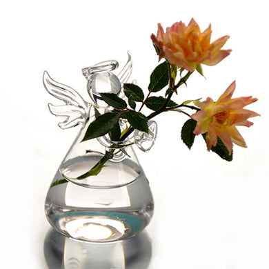 Hot Cute Glass Angel Shape Flower Plant Stand Hanging Vase Hydroponic Container Office Wedding Decor