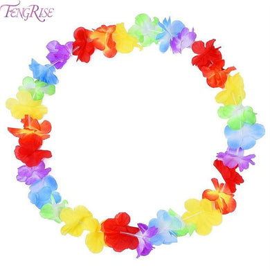 FENGRISE 10pcs Artificial Flower Hawaiian Garland Lei Necklace Flower Beach Theme Luau Party Tropical Summer Aloha Decorations
