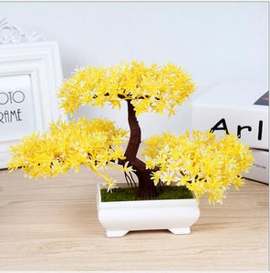 Hot 5Colorful Platic Artificial  plant potted bonsai fake flower plant pine trees for wedding christmas home decoration
