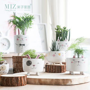 Miz 1 Piece Vase Cute Animal Figure Ceramic Vase for Plants Home Garden Decoration Accessories Small Pot Gift for Friends