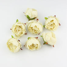 HUADODO 10 pieces 5cm Peony flower head silk Artificial Flowers For Wedding Decoration DIY Decorative Wreath Fake Flowers