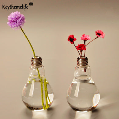 Keythemelife Transparent Light Bulb Glass Vase Desktop Hydroponic Flower Vase Wedding Home Decor BF