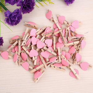 50pcs Mini Love Heart Wooden Clothespin Pinza de madera Clothespin bois Craft Clips DIY Clothes Photo Paper Peg Clothespin