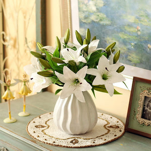 HI-Q 11pcs 3 heads real touch PVC artificial  lily silk decorative flower for wedding decoration gift