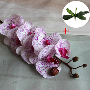Artificial 1pcs phalaenopsis with 1pcs big size leaf PU real touch flower hand feel wedding decoration for home table accessorie