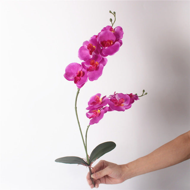 New silk cloth phalaenopsis with leaf simulation orchid flower artificial leaf wedding decoration for home party table accessory