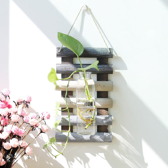 Household  Wall Decor Cylinder Wall Hanging Glass Vase Plants Flowers Hydroponic Bottle Fish Tank Home Decor ZAKKA Vase