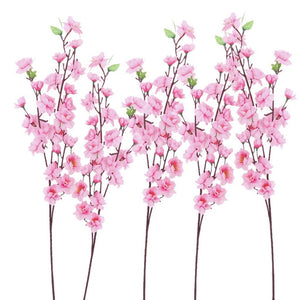 New 6pcs Peach Blossom Simulation Flowers Artificial Flowers Silk Flower Decorative Flowers Wreaths