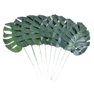 New Hoomall 10PCs Leaf Artificial Flowers Leaves High Quality Palm Plastic Leaves Party Wedding Decoration DIY Decorative Flowers
