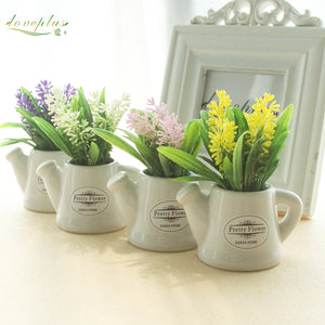 Zinmol Small Artificial Plants Decorative Flowers Mini Potted Kettle Bonsai Valentine's Grass 1 set(plants+vase)