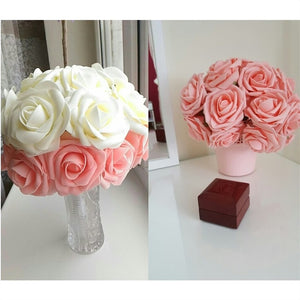 10 Heads 8 cm Charming Artificial Foam Roses