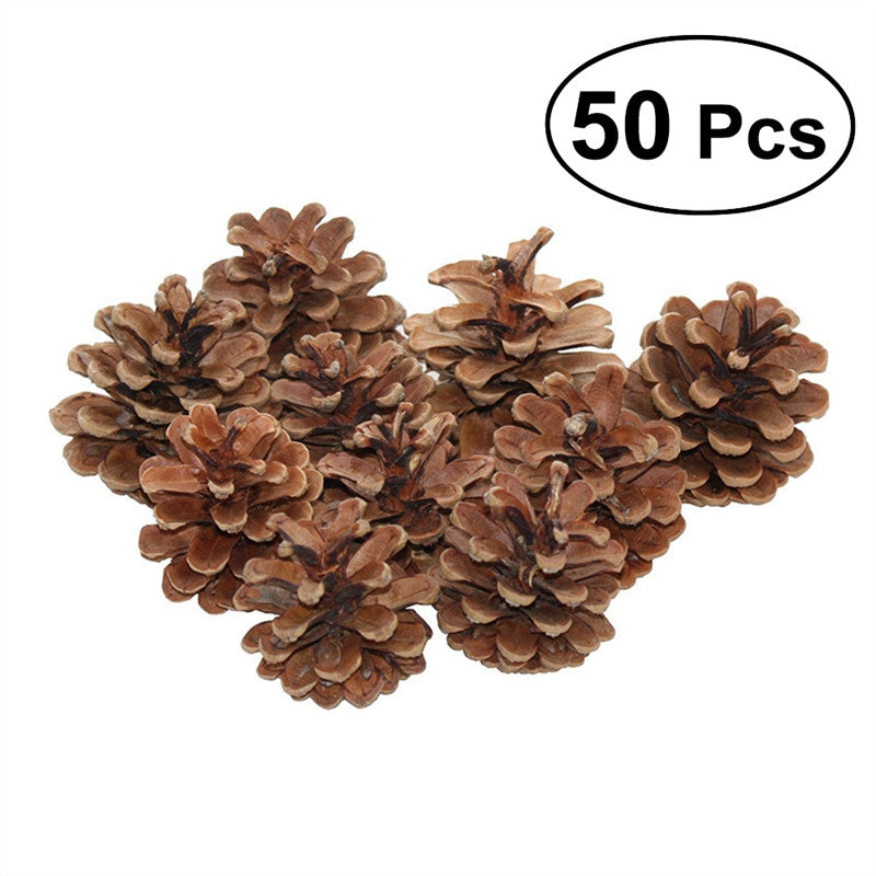 50pcs 6-8cm Christmas Natural Pine Cones Pinecone Decor Xmas Tree Decoration Crafts Home House Kitchen Winter Decor Table Showcase Ornaments