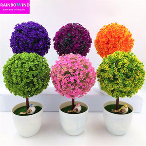 1pc Welcoming Sakura Emulate Bonsai Simulation Decorative Artificial Flowers Fake Green Pot Plants Ornaments bathroom Home Decor