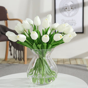 Luyue 21pcs Wedding Decoration PU Artificial Bouquet Real Touch Flowers Tulip Fake Simulation Flower Home party New Year Decor