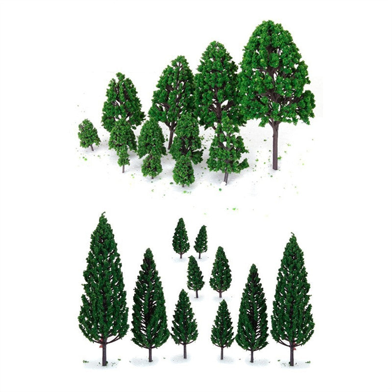 22pcs Green Mini Tree Set Scenery Architectural Landscape Model Trees