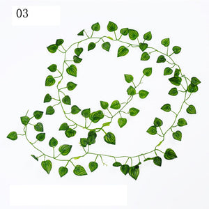 2M Long Artificial Plants Green Ivy Leaves Artificial Grape Vine Fake Parthenocissus Foliage Leaves Home Wedding Bar Decoration