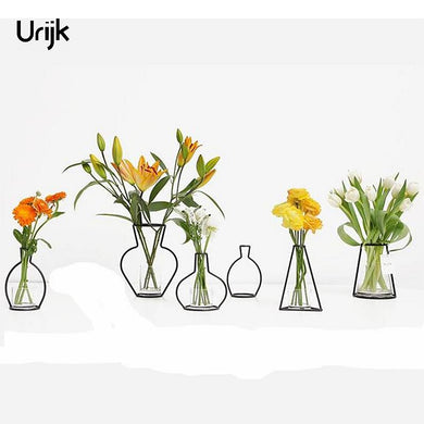 Urijk Iron Vases for Plants Shelving Flower Vase Garden Modern Creative Vase for New Year Decor Home Decoration Accessories