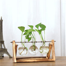 ISHOWTIENDA Vintage Creative Hydroponic Plant Transparent Vase Wooden Frame Coffee Shop Room Glass Tabletop Plant Bonsai Decr