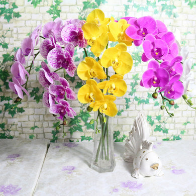 9 Heads 95cm artificial flower Phalaenopsis latex silicon real touch big orchid orchidee wedding high quality single pcs