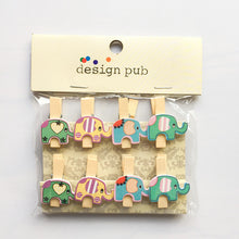 10 pcs /Pack Cartoon Wooden Paper Clip Bookmark For Album With Rope Message Stickers Stationery School Office Supply Decor