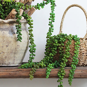Luyue Artificial Flower String PU Fake Wall Hanging Plant Succulents Valentine's Day Gifts Garden Wreath Home Wedding Decor