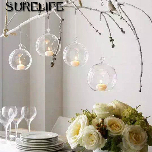 10pcs High Quality Clear Glass Round Terrarium Flower Plant Stand Hanging Vase