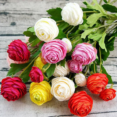 1Piece Artificial Ranunculus Asiaticus fake Flowers silk flores fleur artificiales peony for Wedding decoration cheap Flower