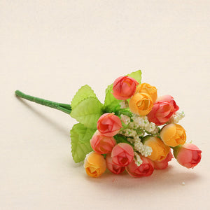 Colorful Silk Flowers artificial flower 15 heads Mini Rose Home Decor for wedding small roses bouquet decoration