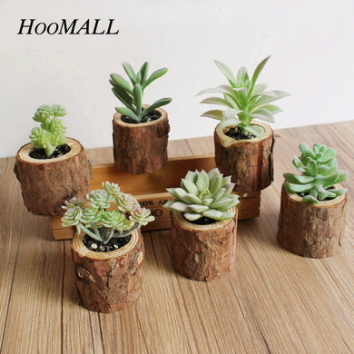 Hoomall Simulation Stump Pots Artificial Plants Succulents Plastic Artificial Flowers With Pots DIY Easter Garden Decoration