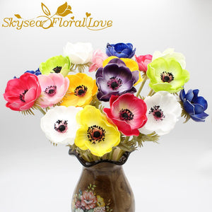 Real touch flowers PU high quality flower roses artificial Anemone bridal bouquet home wedding flowers