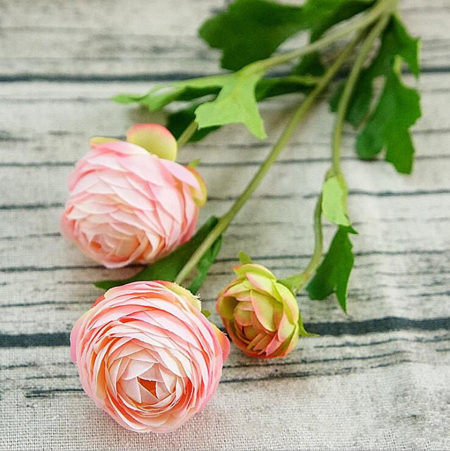 3Heads Artificial Ranunculus Asiaticus rose fake Flowers silk flores artificiales for autumn Wedding decoration kunstbloemen