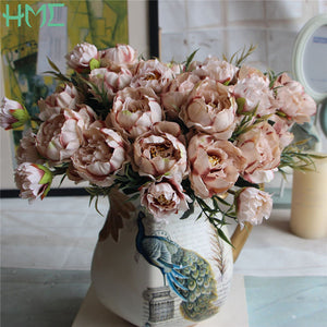 New! 1 Bouquet European Pretty Wedding Mini Peony Artificial Silk Flower bouquet Flores Bride Home Decoration Cheap Fake Flowers