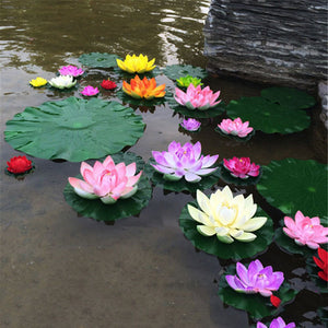 1Pcs Artificial Lotus Water Lily Floating Flower Pond Tank Plant Ornament 10cm Home Garden Pond Decoration