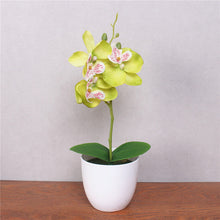 1 Potted Artificial Orchid Flower with foam leaf + vase !