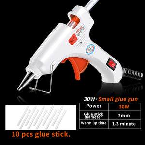 30W 80W 100W EU/ Plug Hot Melt Glue Gun with 20pcs 7mm Glue Stick Industrial Mini Guns Thermo Gluegun Heat Temperature Tool