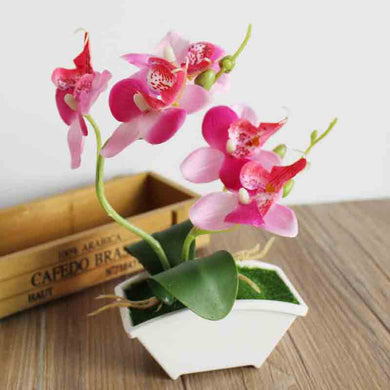 Artificial Flower in Pots Artificial Potted Flower Orchids Bonsai Wedding Home Vases for Decoration